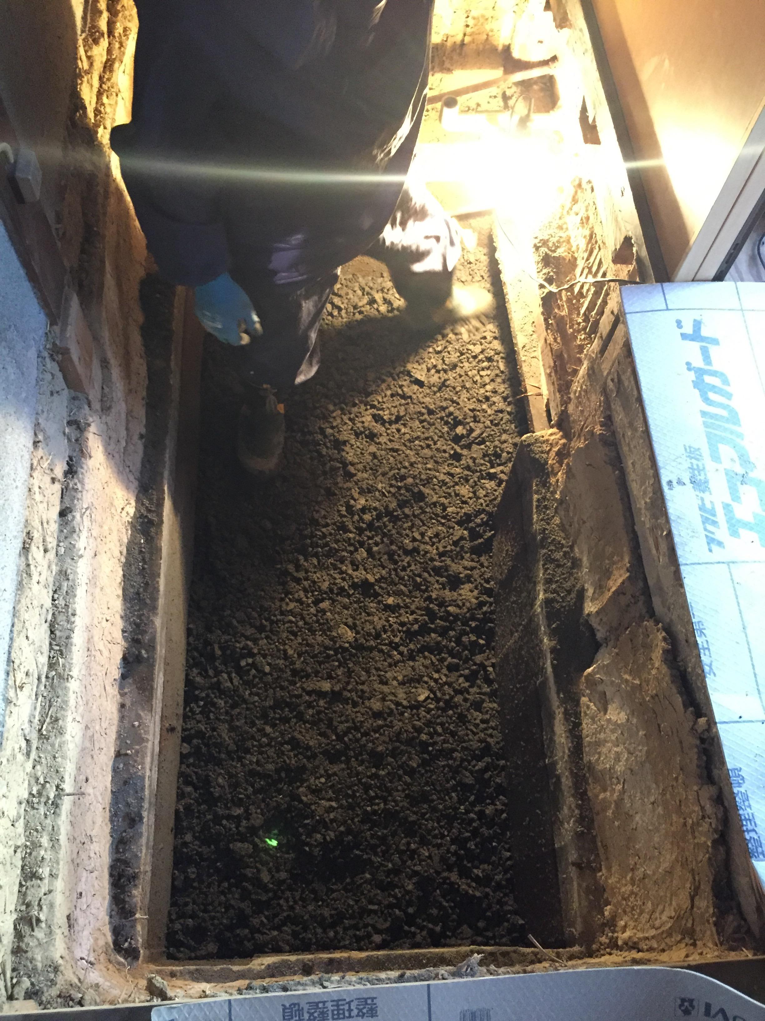 西条市 洗面所 床 リフォーム 施工中