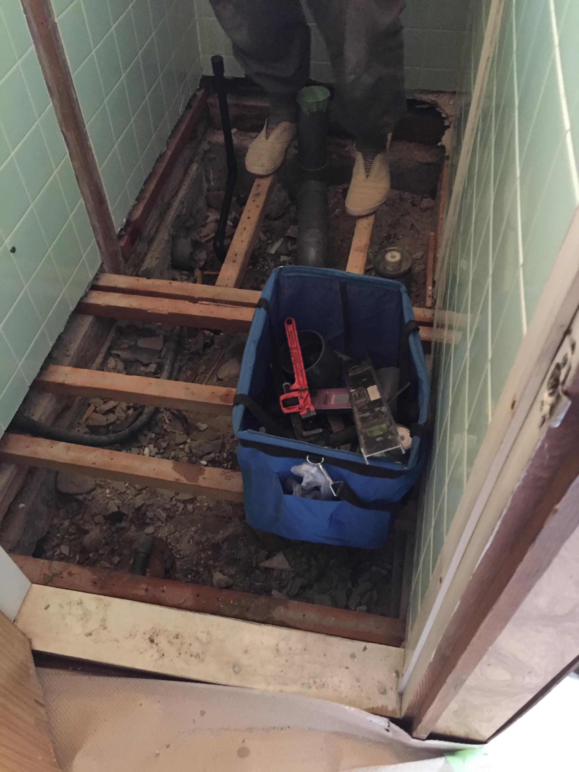 西条市 和式トイレから洋式ウォシュレットトイレにリフォーム 施工中